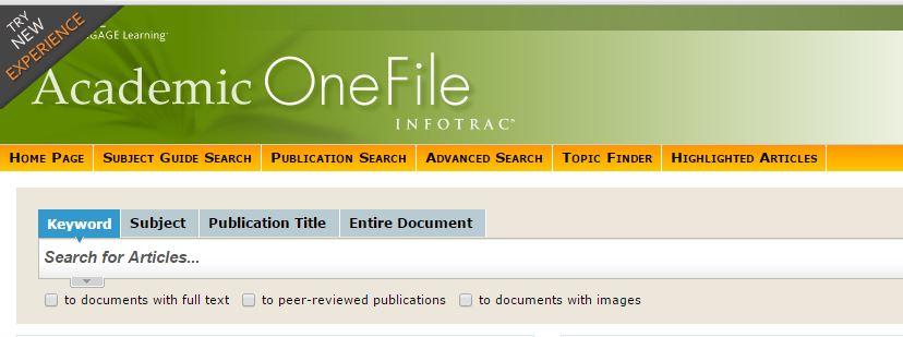 ทดลองใช้ฐานข้อมูล Academic OneFile, National Geographic  และ Gale Virtual Reference